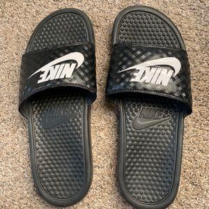 Nike black women slides